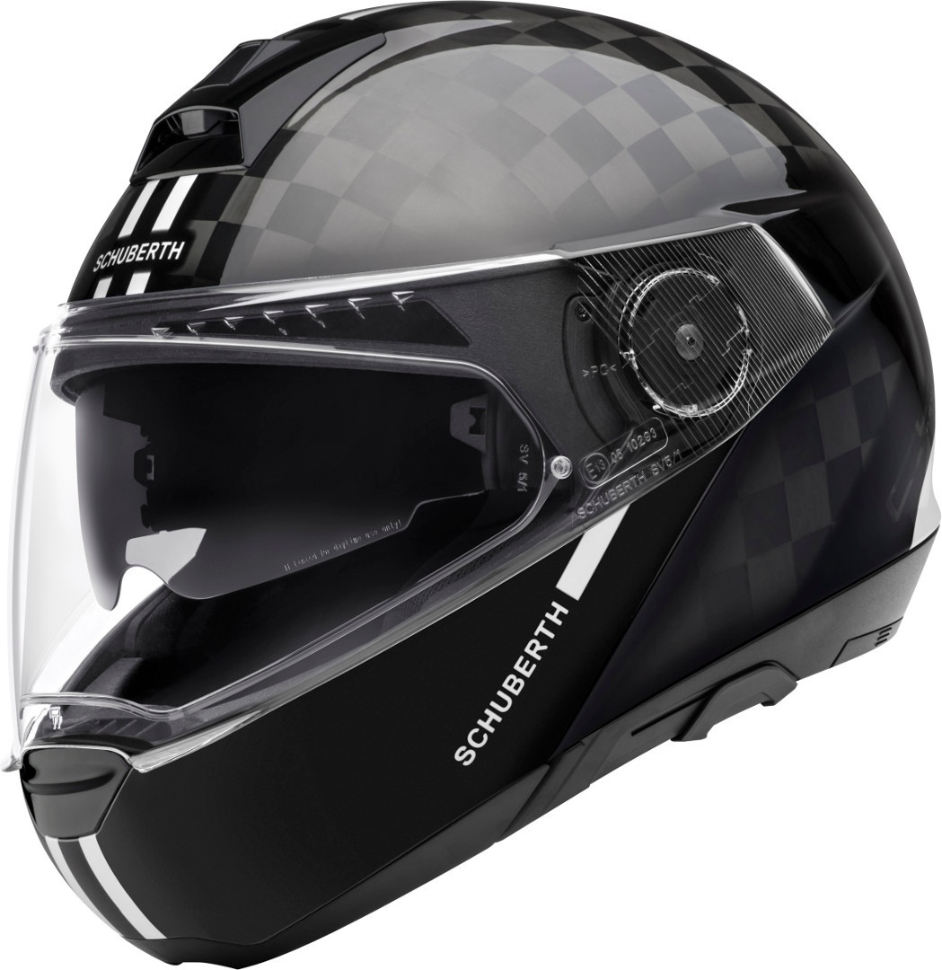 Schuberth C4 Pro Carbon Fusion Klapphelm, schwarz-weiss, Größe M, schwarz-weiss, Größe M
