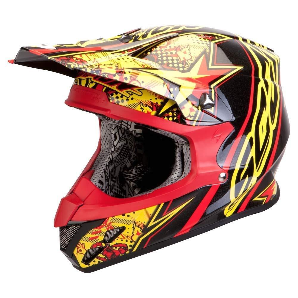 Scorpion VX-20 Air Win Win Crosshelm, schwarz-rot-gelb, Größe 2XL, schwarz-rot-gelb, Größe 2XL