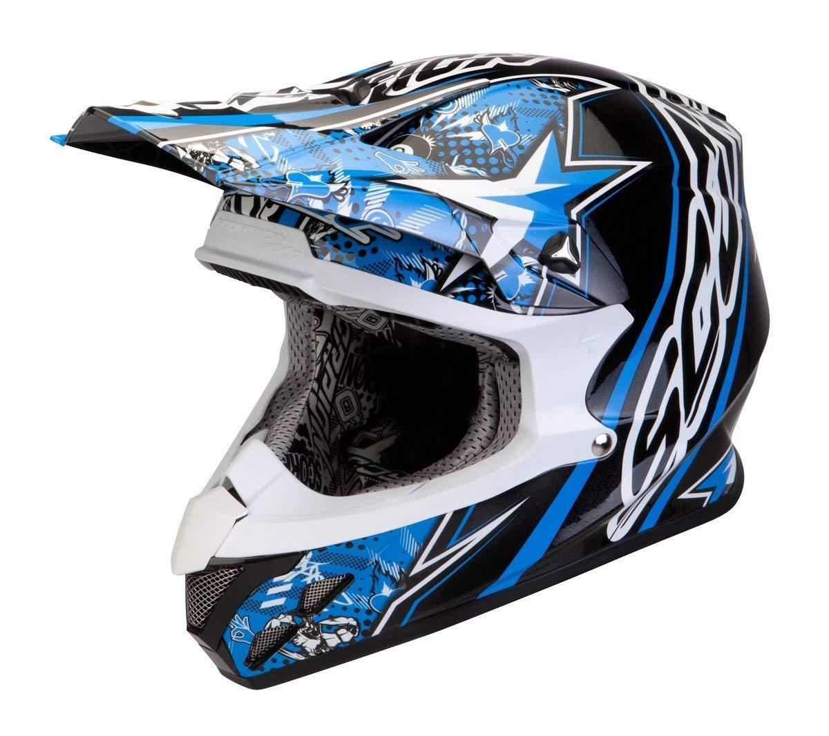 Scorpion VX-20 Air Win Win Crosshelm, schwarz-weiss-blau, Größe 2XL, schwarz-weiss-blau, Größe 2XL