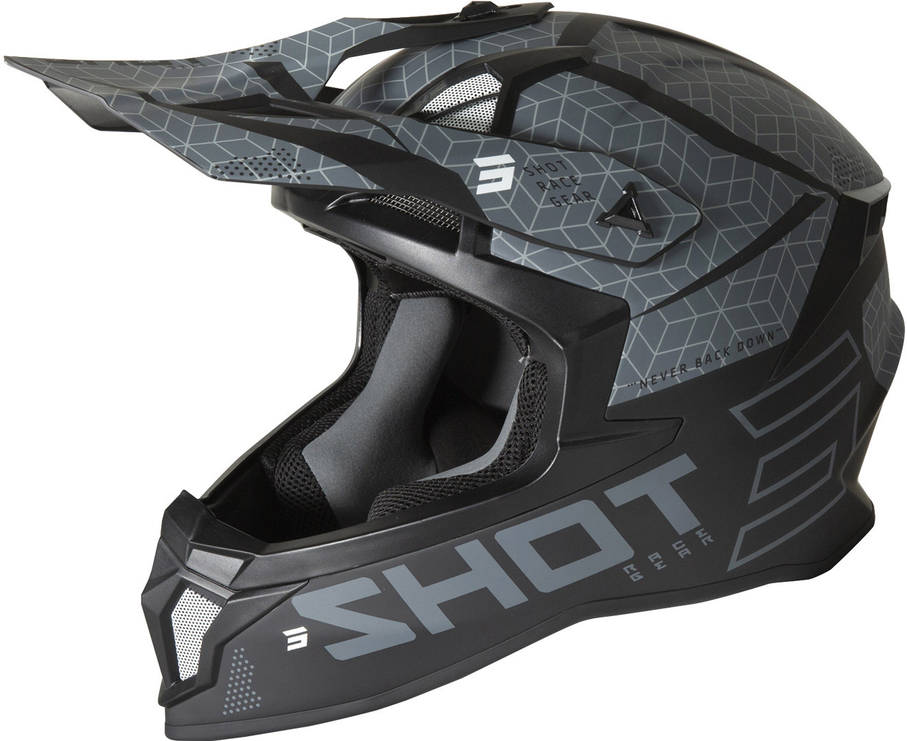 Shot Lite Core Motocross Helm, schwarz-grau, Größe M, schwarz-grau, Größe M