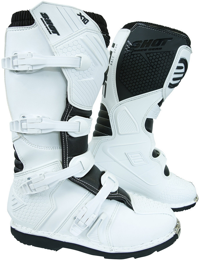 Shot X10 2.0 Motocross Stiefel, weiss, Größe 48, weiss, Größe 48