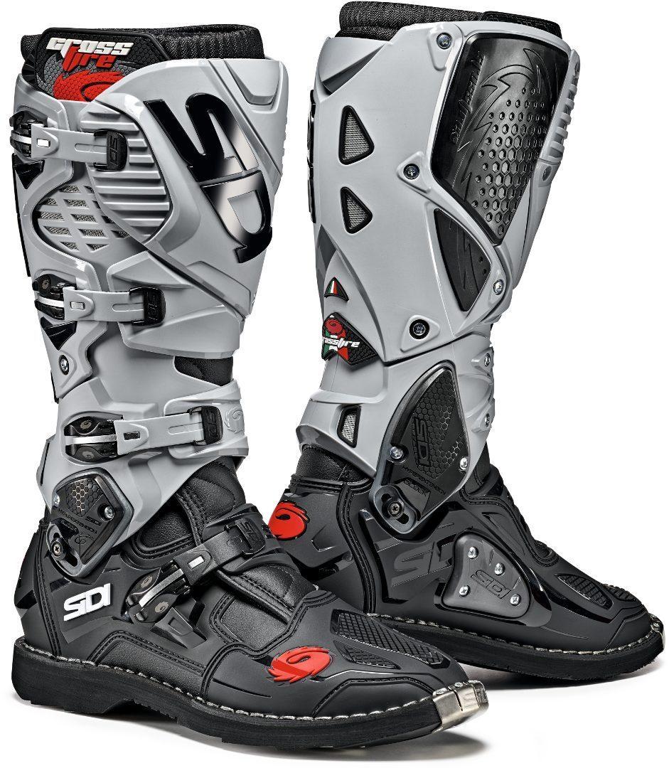 Sidi Crossfire 3 Motocross Stiefel, schwarz-grau, Größe 45, schwarz-grau, Größe 45
