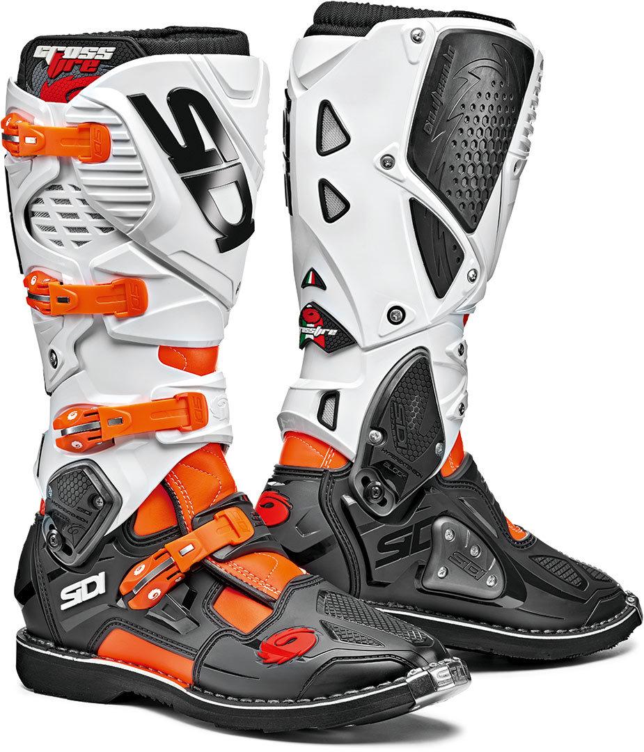 Sidi Crossfire 3 Motocross Stiefel, schwarz-weiss-orange, Größe 45, schwarz-weiss-orange, Größe 45