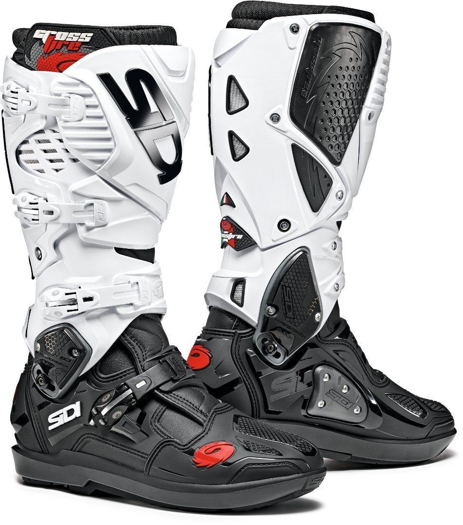 Sidi Crossfire 3 SRS Motocross Stiefel, schwarz-weiss, Größe 45, schwarz-weiss, Größe 45