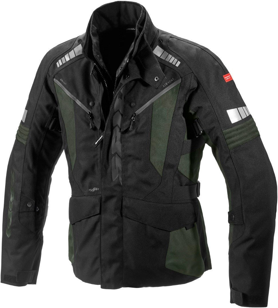 Spidi H2Out Outlander Motorrad Textiljacke, schwarz-grau-grün, Größe L, schwarz-grau-grün, Größe L