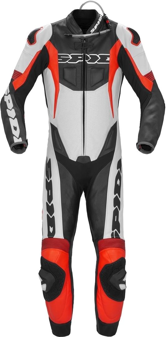 Spidi Sport Warrior Pro Perforierte 1-Teiler Motorrad Lederkombi, schwarz-rot, Größe 50, schwarz-rot, Größe 50