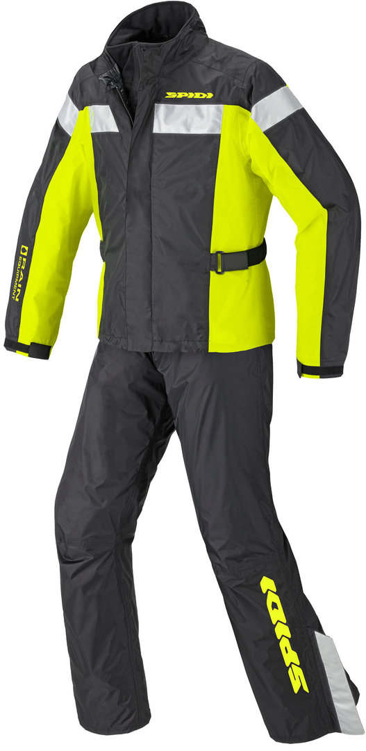 Spidi Touring Rain Kit 2-Teiler Motorrad Regenkombi, schwarz-gelb, Größe 3XL, schwarz-gelb, Größe 3XL