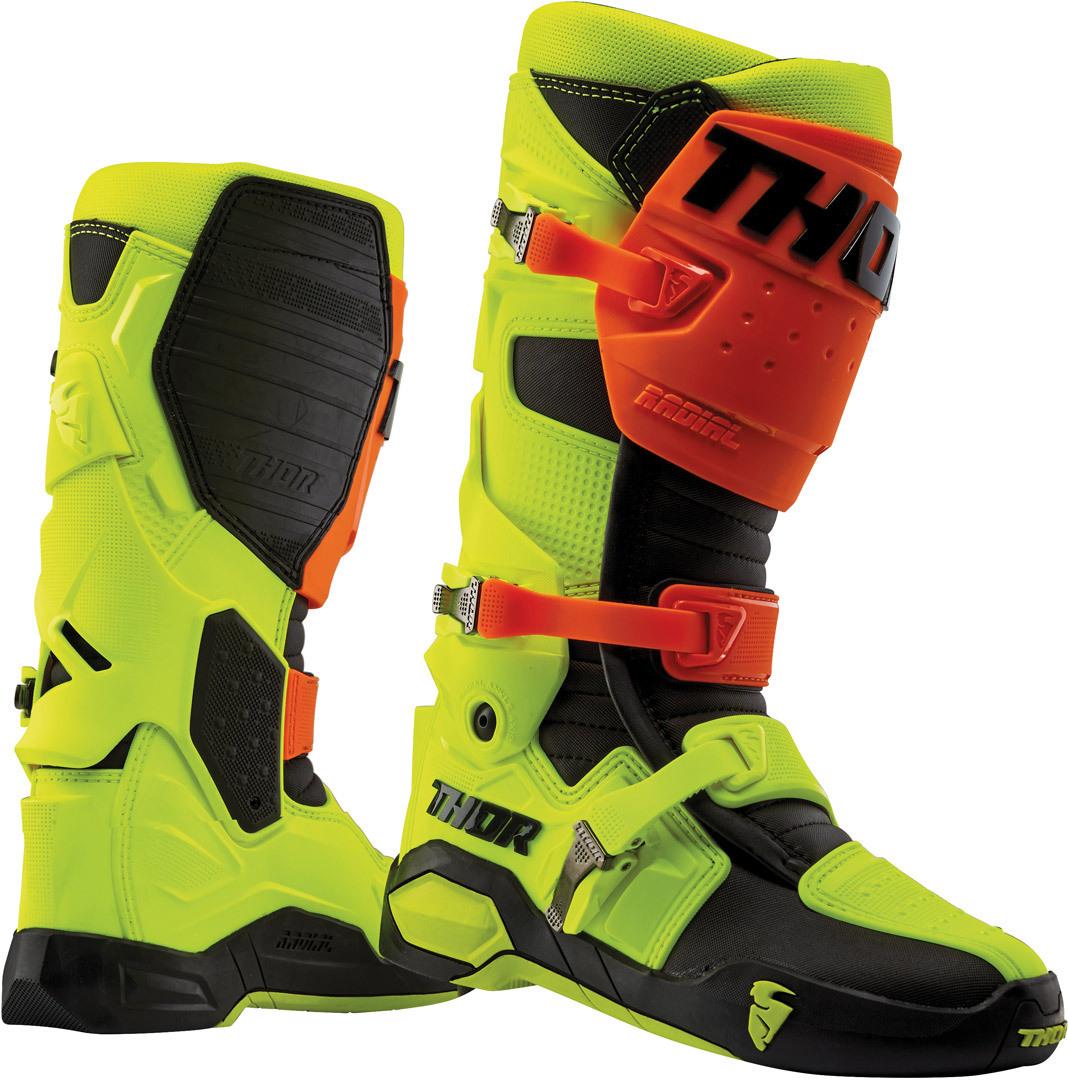 Thor Radial Motocross Stiefel, rot-gelb, Größe 51 52, rot-gelb, Größe 51 52