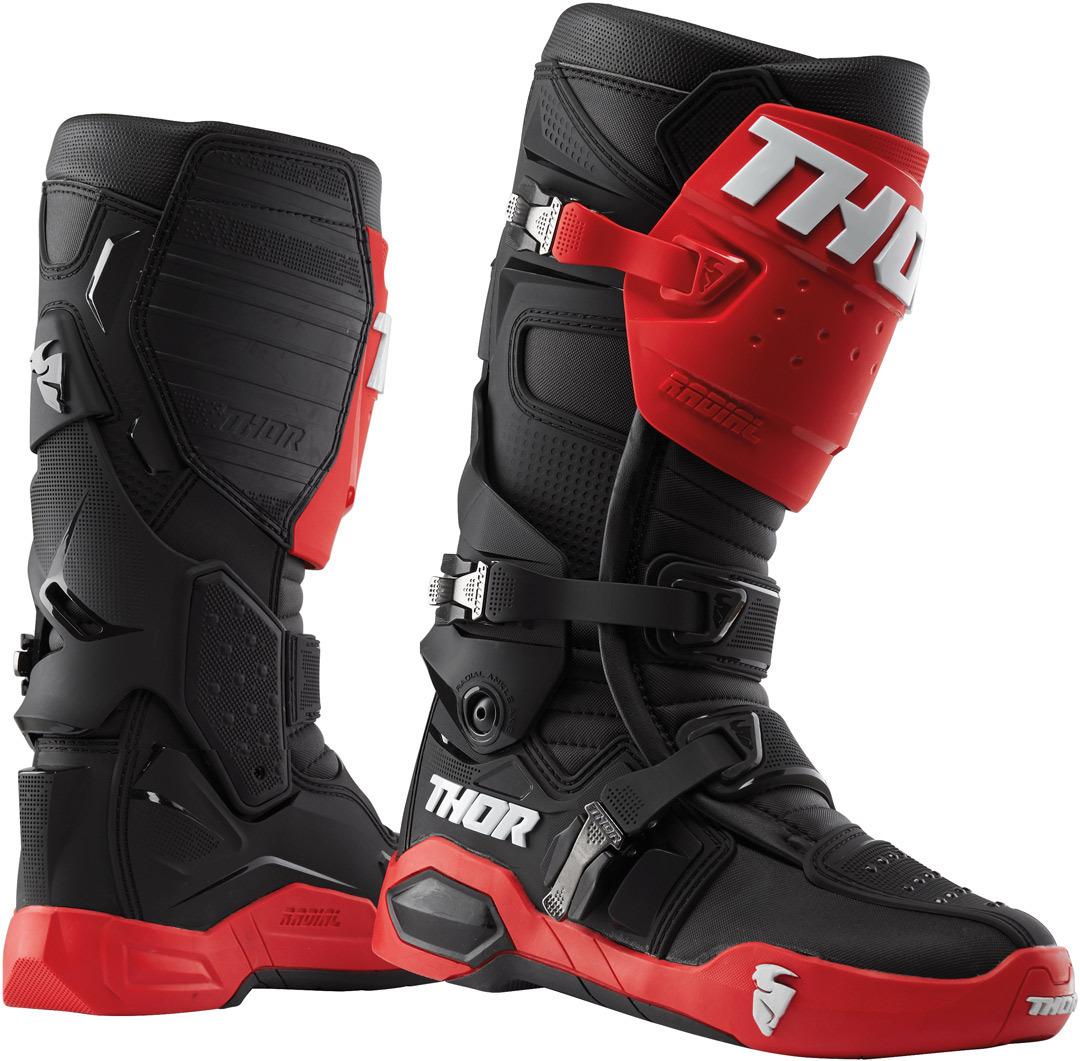 Thor Radial Motocross Stiefel, schwarz-rot, Größe 50, schwarz-rot, Größe 50